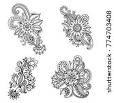 henna tattoo flower template in ... | Shutterstock .eps vector #774703408