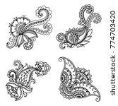 set of mehndi flower pattern... | Shutterstock .eps vector #774703420