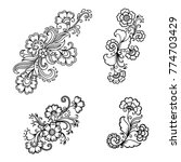 set of mehndi flower pattern... | Shutterstock .eps vector #774703429