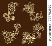 henna tattoo flower template in ... | Shutterstock .eps vector #774703930