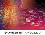 laboratory glassware and dna... | Shutterstock . vector #774705310