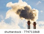 stream of dark smoke from the... | Shutterstock . vector #774711868
