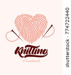 knitting logo with lettering.... | Shutterstock .eps vector #774722440
