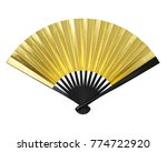 Hand Fan Isolated On White...
