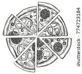 italian pizza  pizza design... | Shutterstock .eps vector #774723184