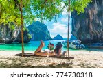 traveler asian woman in bikini... | Shutterstock . vector #774730318
