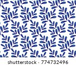 ceramic blue and white leaves... | Shutterstock .eps vector #774732496