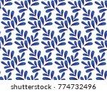ceramic blue and white leaves... | Shutterstock .eps vector #774732496