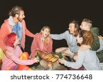 happy friends camping together... | Shutterstock . vector #774736648