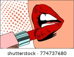pop art makeup. closeup of sexy ... | Shutterstock .eps vector #774737680