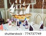 bottles with cherry lemonade... | Shutterstock . vector #774737749