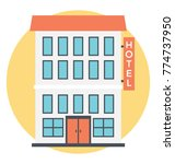 flat vector icon of a hotel