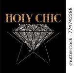 holy chic slogan print... | Shutterstock .eps vector #774742288