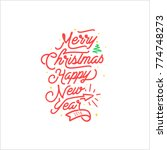 merry christmas happy new year | Shutterstock .eps vector #774748273