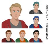 handsome guys with different... | Shutterstock .eps vector #774749509