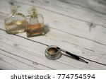 eye shadows and perfume bottles ... | Shutterstock . vector #774754594