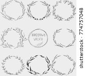 hand drawn floral wreath.... | Shutterstock .eps vector #774757048