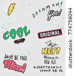 typography slogan with thunder... | Shutterstock .eps vector #774758044