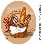 fresh bread in the basket.the... | Shutterstock .eps vector #774763819