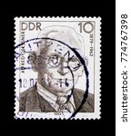 Small photo of MOSCOW, RUSSIA - NOVEMBER 23, 2017: A stamp printed in Germany (DDR) shows Alfred Oelssner (1879-1962), Personalities of the German labor movement serie, circa 1989