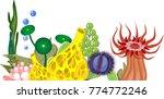 yellow sponge  red beadlet... | Shutterstock .eps vector #774772246