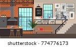 interior design in loft style.... | Shutterstock .eps vector #774776173