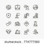 healthcare icon line set with... | Shutterstock .eps vector #774777583