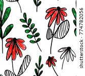 hand painted floral... | Shutterstock . vector #774782056