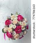 dress a bouquet of roses red... | Shutterstock . vector #774786163