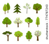 Stock vector collection of trees illustrations can be used to illustrate any nature or healthy lifestyle topic 774787243