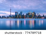 toronto skyline at dusk and... | Shutterstock . vector #774789718