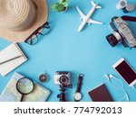 top view travel concept with... | Shutterstock . vector #774792013