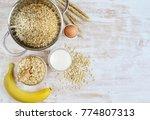 vitamin healthy breakfast oat...   Shutterstock . vector #774807313