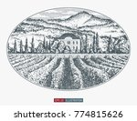 hand drawn landscape. antique... | Shutterstock .eps vector #774815626