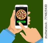 order pizza online. hand... | Shutterstock .eps vector #774825430