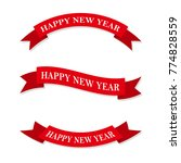 set of red new year ribbons or... | Shutterstock .eps vector #774828559