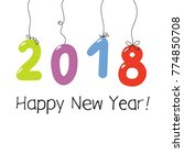 hand drawn happy new year 2018... | Shutterstock .eps vector #774850708