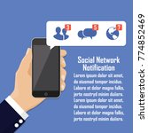 human hand holding mobile phone ... | Shutterstock .eps vector #774852469