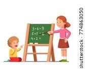 kids studying math. girl... | Shutterstock .eps vector #774863050