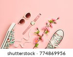 fashion woman accessories set.... | Shutterstock . vector #774869956