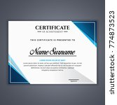 certificate template in vector... | Shutterstock .eps vector #774873523