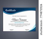 certificate template in vector... | Shutterstock .eps vector #774873526