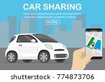 Stock vector car sharing concept white car and hand holding smartphone with carsharing app flat vector 774873706