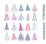 hand drawn set of christmas... | Shutterstock .eps vector #774878464