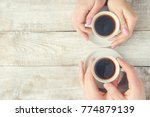 cups with a coffee in the hands ... | Shutterstock . vector #774879139