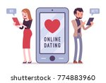 online dating chat. young man... | Shutterstock .eps vector #774883960