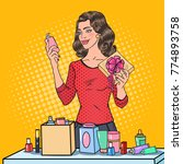 pop art beautiful woman with... | Shutterstock .eps vector #774893758