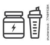 whey protein with sports shaker ... | Shutterstock .eps vector #774895384