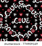 seamless pattern with hand... | Shutterstock .eps vector #774909169