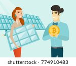 caucasian white worker of solar ... | Shutterstock .eps vector #774910483
